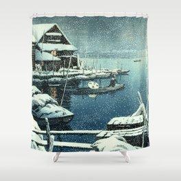 Kawase Hasui - Snow in Mukojima - Japanese Vintage Woodblock Painting Shower Curtain