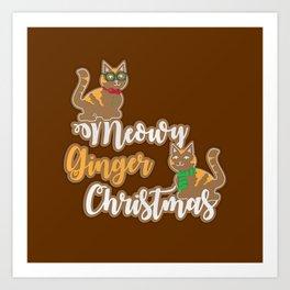 Meowy Ginger Christmas Art Print