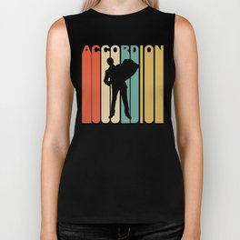 Retro 1970's Style Accordion Player Silhouette Music Biker Tank