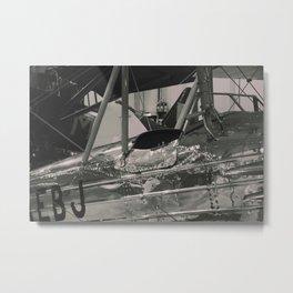 Vintage Aircraft Cockpit ( mono print) Metal Print