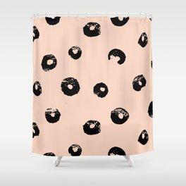 black & pale peach /geometric series 2 Shower Curtain