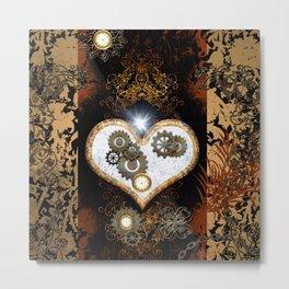 Steampunk, beautiful heart Metal Print