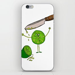 little lemon and the knife, knife, lemon, green, yellow, blood, scary iPhone Skin
