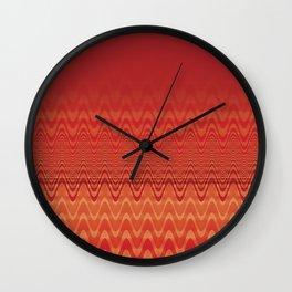 Bright Orange Ombre Chevron Wave Fade Out Wall Clock