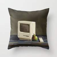 computer Throw Pillows featuring Pear Computer by Uri Tuchman
