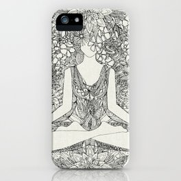 lotus garden vintage black iPhone Case