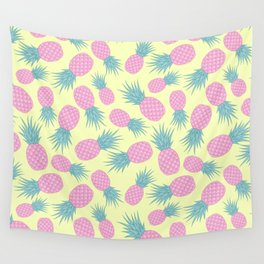 Pink pastel pineapple Wall Tapestry