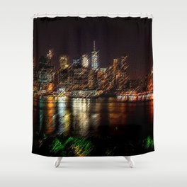 Manhattan City Lights Night Scene Landscape Painting by Jeanpaul Ferro Shower Curtain
