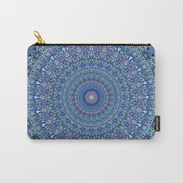 Blue Circle Garden Mandala Carry-All Pouch