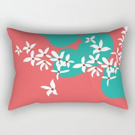 Minimalistic White Flowers On A Red Rectangular Pillow
