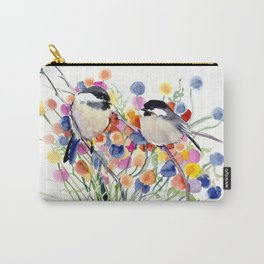 Chickadees and Flowers Carry-All Pouch