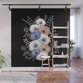 Anemones bouquet in black Wall Mural