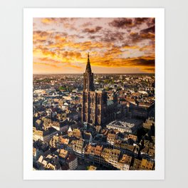 Majestic sunset at Strasbourg Cathedral Art Print