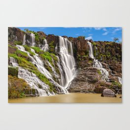 Long exposure of the beautiful Pongour waterfalls, Vietnam Canvas Print