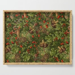 Traditional Holly Christmas Pattern Serving Tray