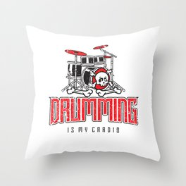 Drumming Is My Cardio Drum Set Drummer Player Throw Pillow