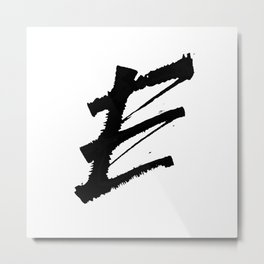 Letter E Ink Monogram Metal Print