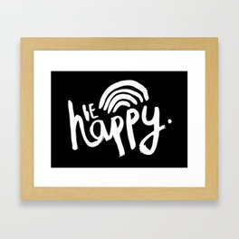 Be Happy Monochrome Scandi Artwork Framed Art Print