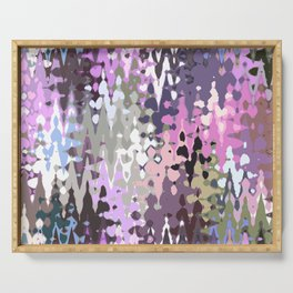 Violet shades icicles, abstract geometric jagged shapes, sharp forms Serving Tray