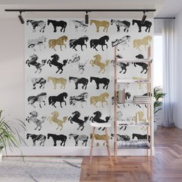 Gold and Black and White Marble Modern Horses Wall Mural