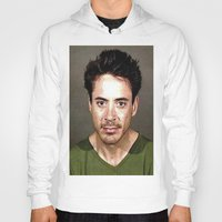 robert downey jr Hoodies featuring Robert Downey Jr. Mugshot by Neon Monsters
