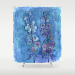 Blue Hollyhock Foxglove Minimalist Watercolor Shower Curtain