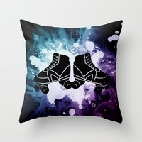 roller derby Throw Pillows featuring Roller Derby Galaxy Skates by Mean Streak