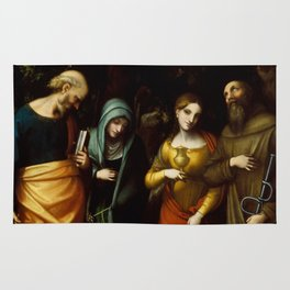 "Antonio Allegri da Correggio ""Saints Peter, Martha, Mary Magdalen, and Leonard"" Rug"