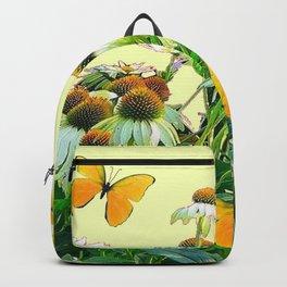 GOLDEN BUTTERFLIES  WHITE CONE FLOWER YELLOW GARDEN Backpack