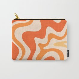 Tangerine Liquid Swirl Retro Abstract Pattern Carry-All Pouch
