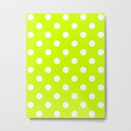 Polka Dots - White on Fluorescent Yellow Metal Print