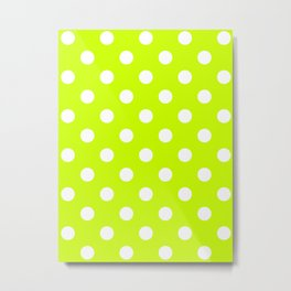 Polka Dots - White on Fluorescent Yellow Metal Print