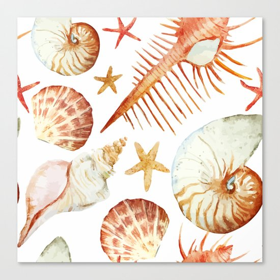 Sea Life Pattern 09 Canvas Print