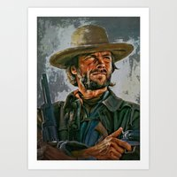 clint eastwood Art Prints featuring  Clint Eastwood by andy551