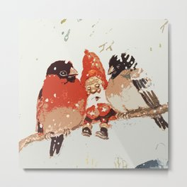 Gnomes, birds Metal Print