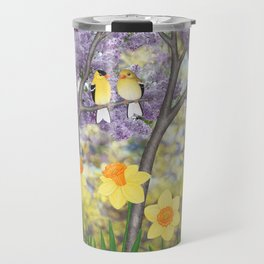 goldfinches, lilacs, & daffodils Travel Mug