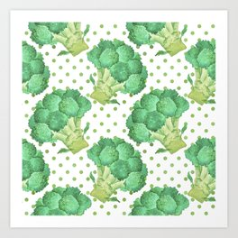 Broccoli on Green dotted Background Art Print