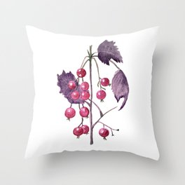 Watercolor Berries in Magenta Throw Pillow