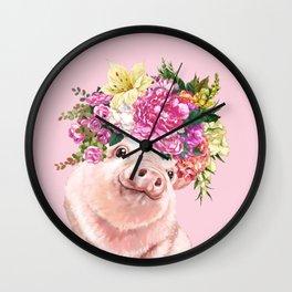 Flower Crown BB Pig in Pink Wall Clock