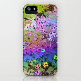 flowers with rainbow rays iPhone Case