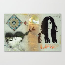 Face, Bird & heart collage Canvas Print