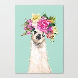 Flower Crown Llama in Green Canvas Print