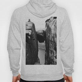 Nordic print, black white wall art, Amazing fjord, Norway cliffs, kjeragbolten, holiday Hoody