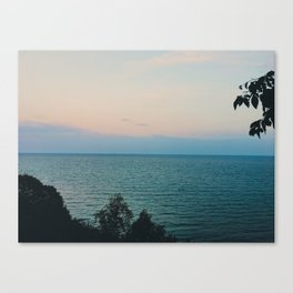 Summer evening sky by the lake Canvas Print