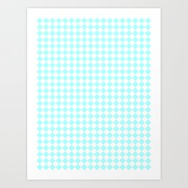 Small Diamonds - White and Celeste Cyan Art Print