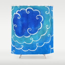 Silver linings on blue Shower Curtain