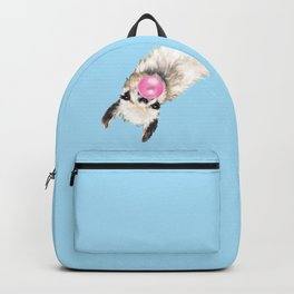 Bubble Gum Sneaky Llama in Blue Backpack