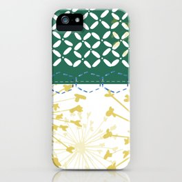 Boho dandelion green and yellow iPhone Case