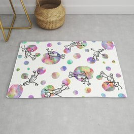 Robot Space Party (White Version) Rug