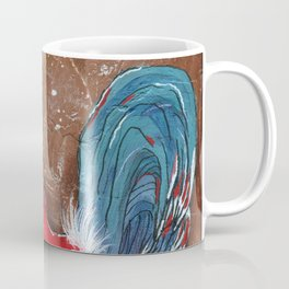 Colorful Rooster on Brown Background Coffee Mug